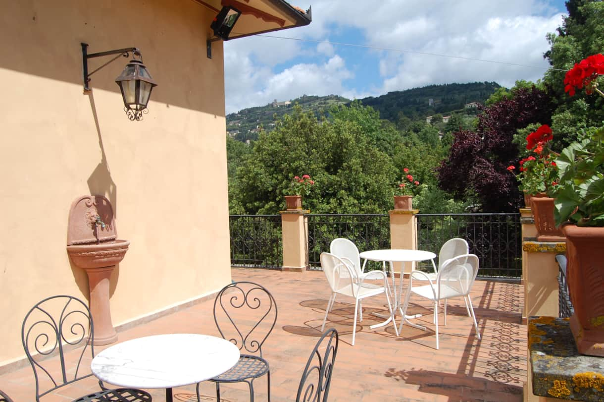 The terrace for breakfast or evening drinks at this wonderful chef's self catering Tuscan villa.