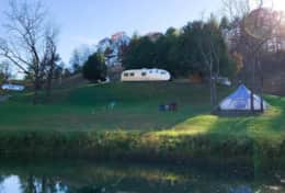 Asheville Glamping Big Top Pond view