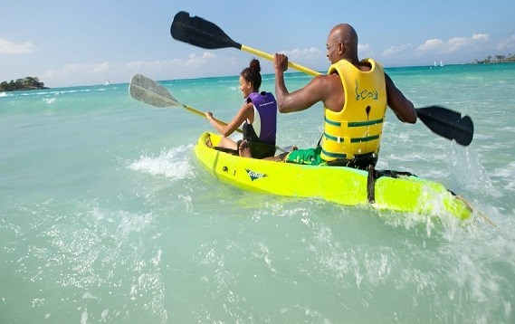 Kayak on the calm waters of the caribbean sea
