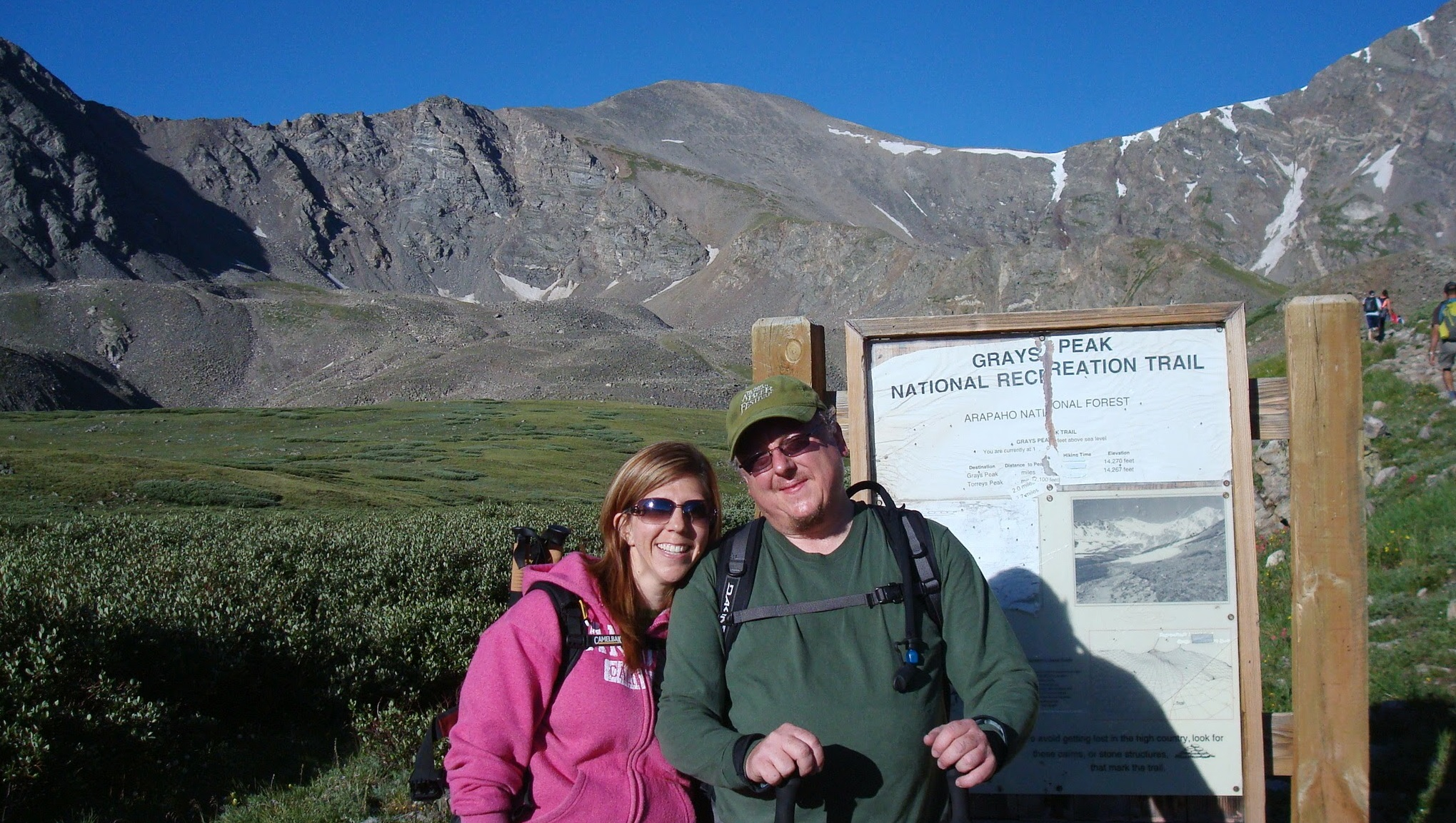 Garry and Mindy, hiking Grey's Peak, one of Colorado's 14ers