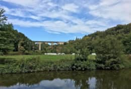View of Dinan Viaduct from towpath
