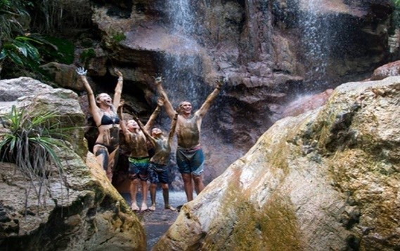 Mud bath at Sapphire Fall in Soufriere