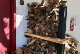 Plenty of wood available for the fire
