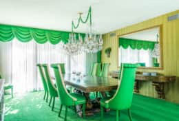 Throw a lavish dinner party in our green dining suite