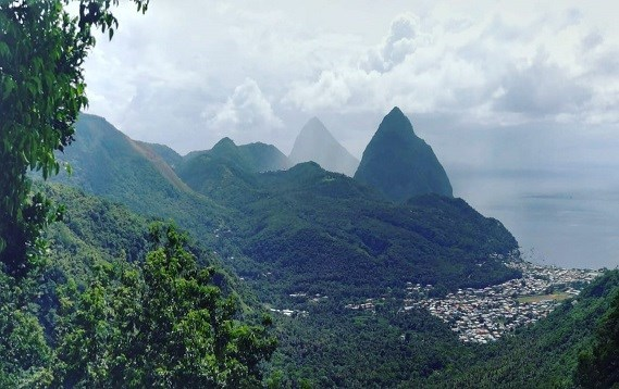View of Soufriere town from the northern Point