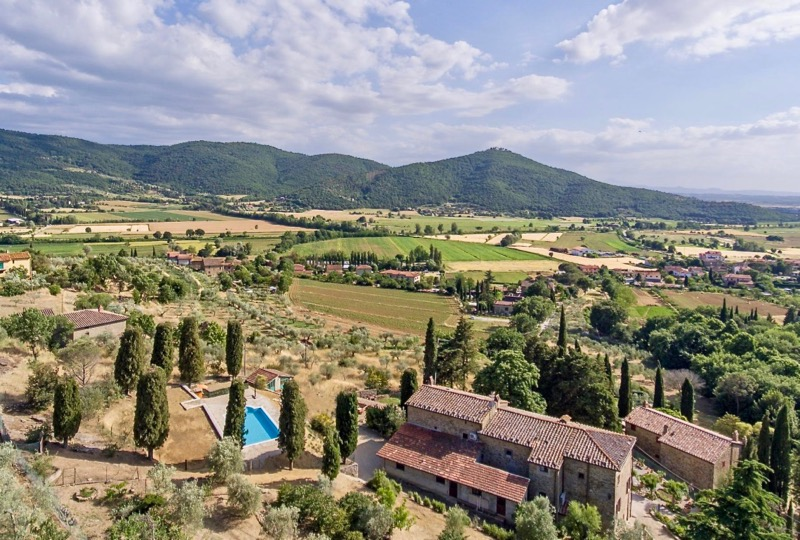 Aerial view at Antica Villa Cortona