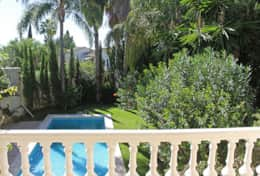 View of pool & garden from mid terrace