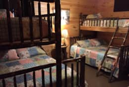 Bunk beds in the basement bedroom