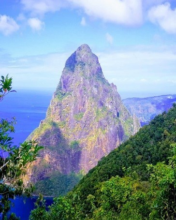 Things to do in St Lucia  View of Choiseul Petit Piton from Tet Paul hike