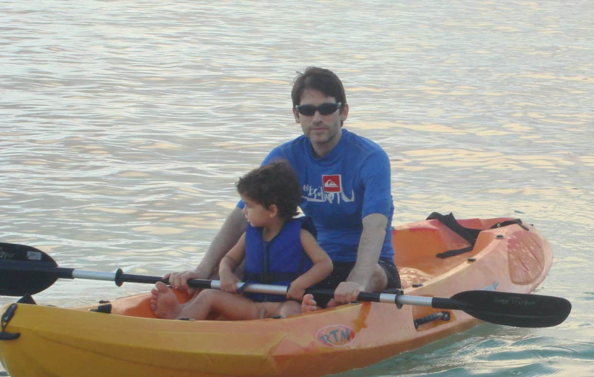 Families love kayaking at Anse Forbans - a large family kayak and a smaller kayak are included