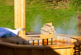 Wood-fired hot tub in the day