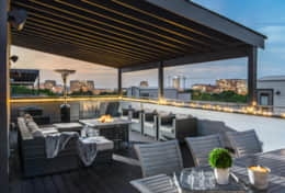 Dine and sip among uninterrupted views of the Nashville skyline on the huge rooftop deck.