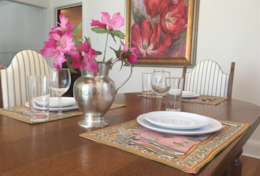 Enjoy a meal around the French oak dining table