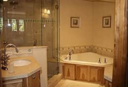 masterbath with steam shower & jacuzzi tub
