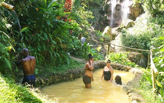 Soak up in the Soufriere Saphire Mineral Bath & Water Fall