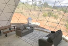 Asheville Glamping- Dome living area with two pull out couches