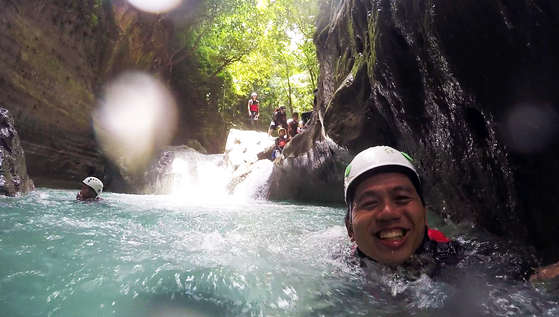 happy tourist in kawasan canyoneering.