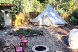 Asheville Glamping Deluxe bell tent exterior