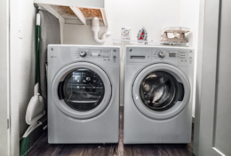 Washer and dryer with complimentary detergent.