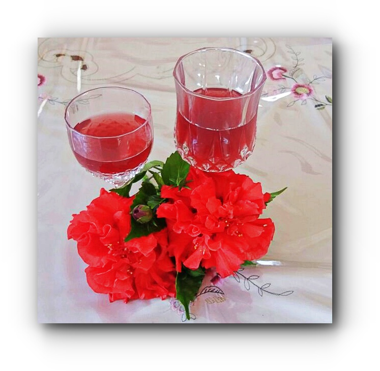 A Refreshing Glass of  Hibiscus Wine