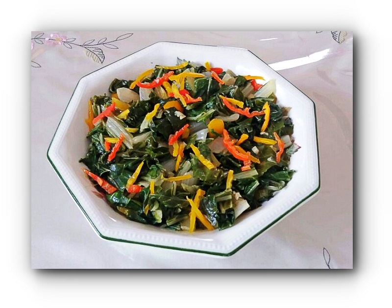 Steamed Vegetables mixed with peppers and herbs